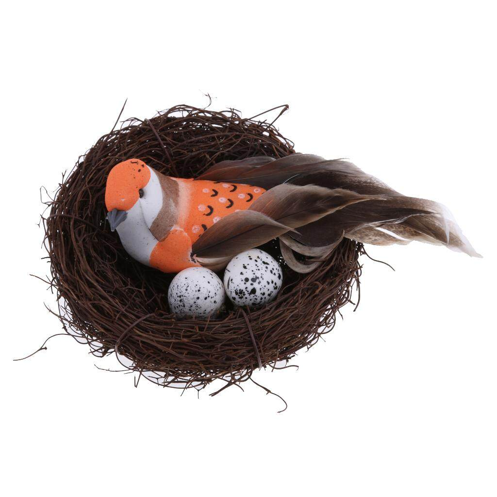 MagiDeal Straw Artificial Feather Foam Birds In Nest With Eggs Simulation