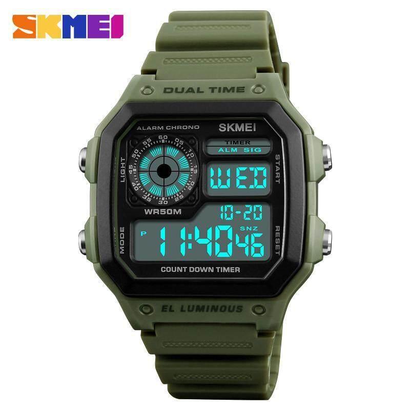 SKMEI 1299 Mens Outdoor Sport Watch Electronic Dual Display Waterproof Digital Luminous Watch for Men Malaysia