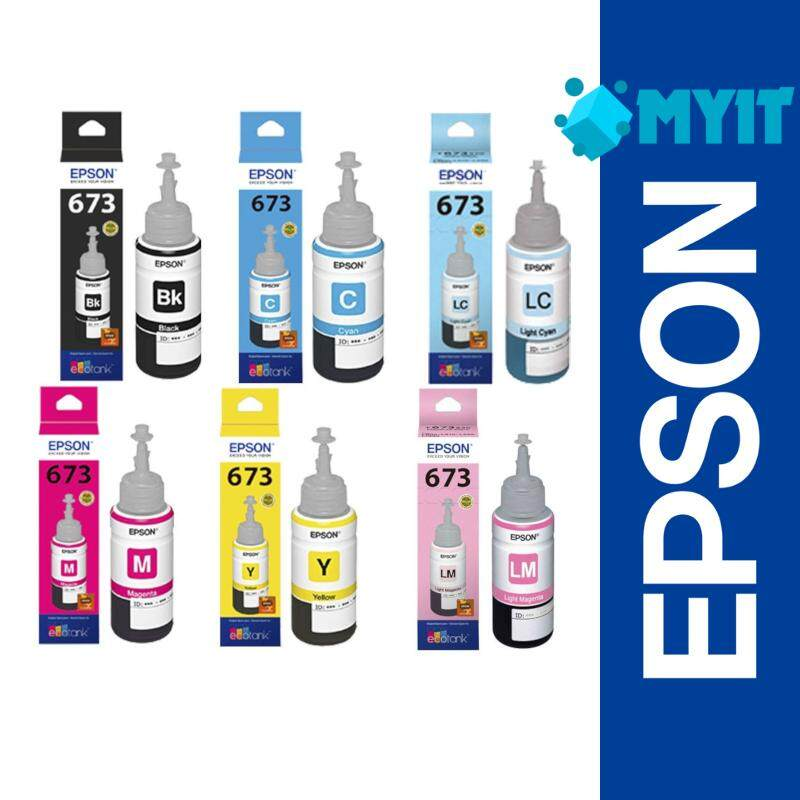 Epson T673 Black and Color Series Ink Bottle Refill Supplies Set (6 Colour in 1 Pack)
