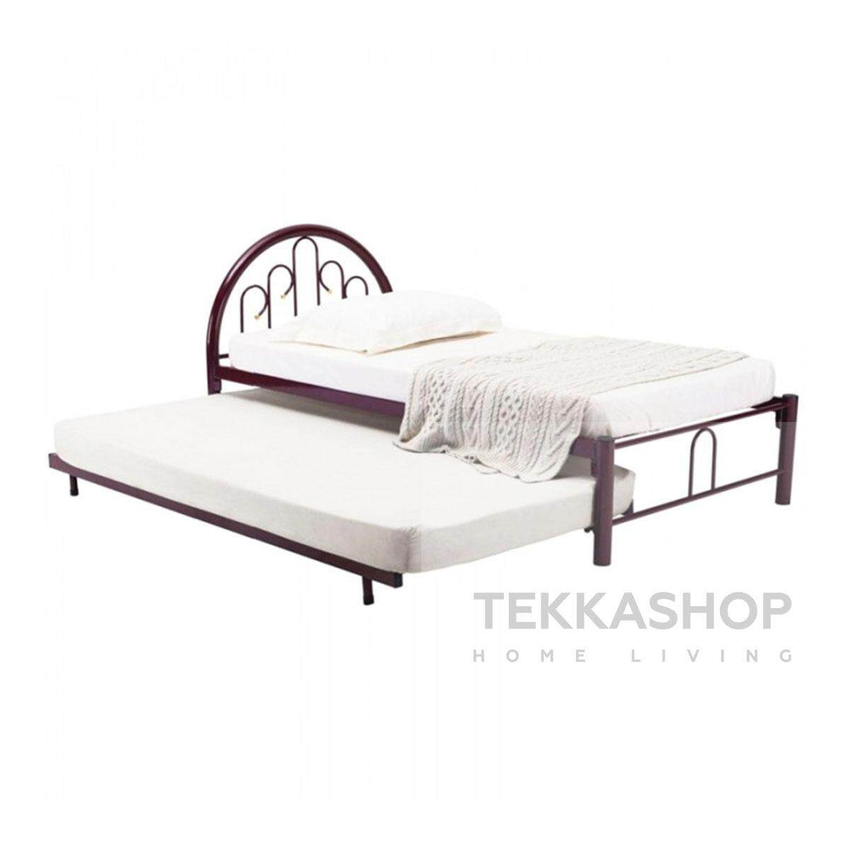Tekkashop Gdsbf2538r Single Metal Bed Frame With Pull Out Bed Red