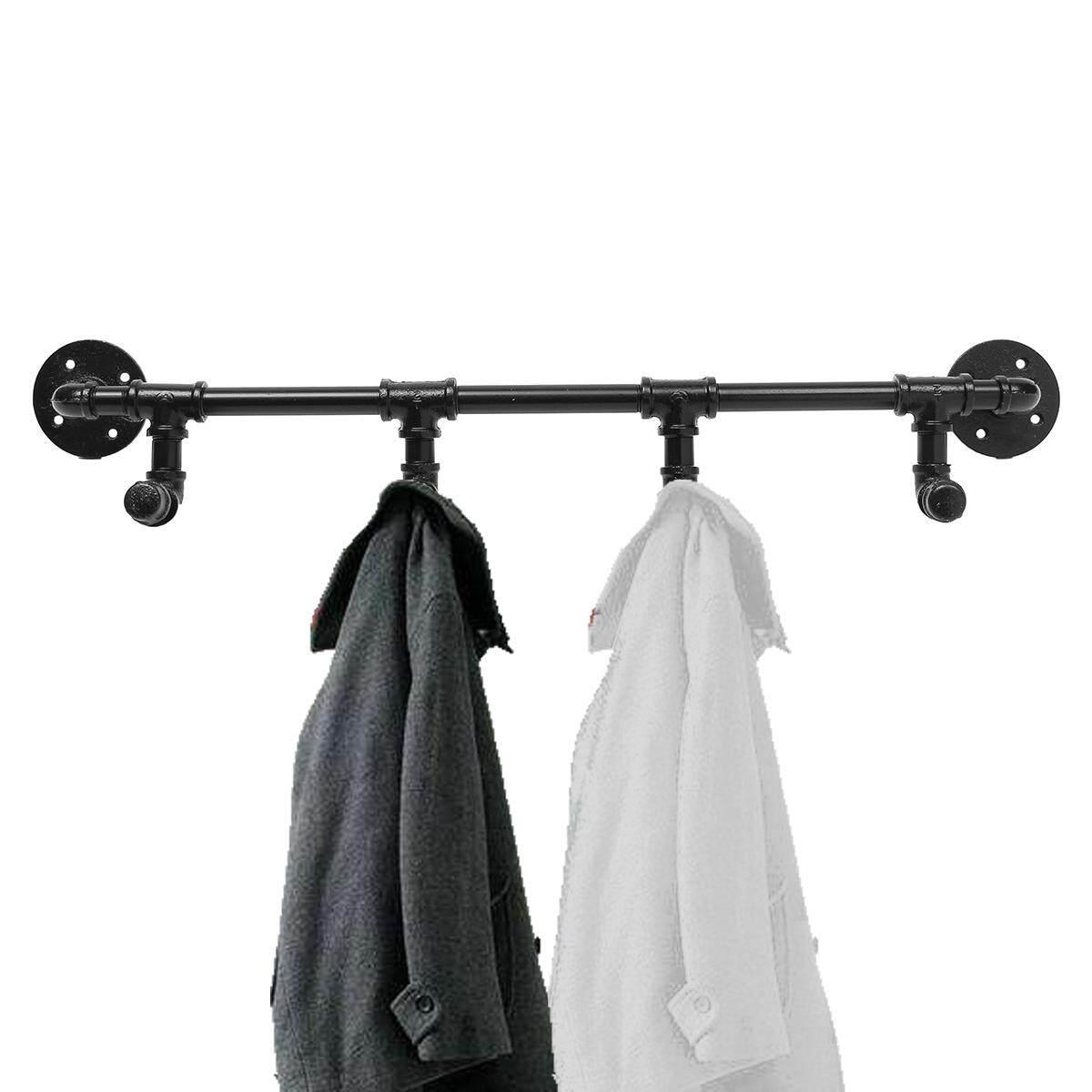 28 4 Hooks Wall Mounted Industrial Steampunk Iron Pipe Coat Rack Towel Hanger