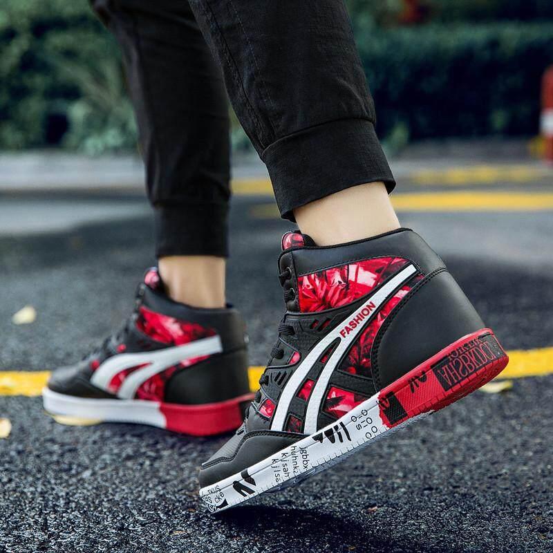 YOZO Sepatu Kets Pria Cetak Baru Mewah Pria Sepatu Kasual Sepatu Lari Datar Musim Dingin Hip Hop Atasan Tinggi Pria Sneaker Kulit PU Sepatu Ukuran Besar: 38-45 - 5