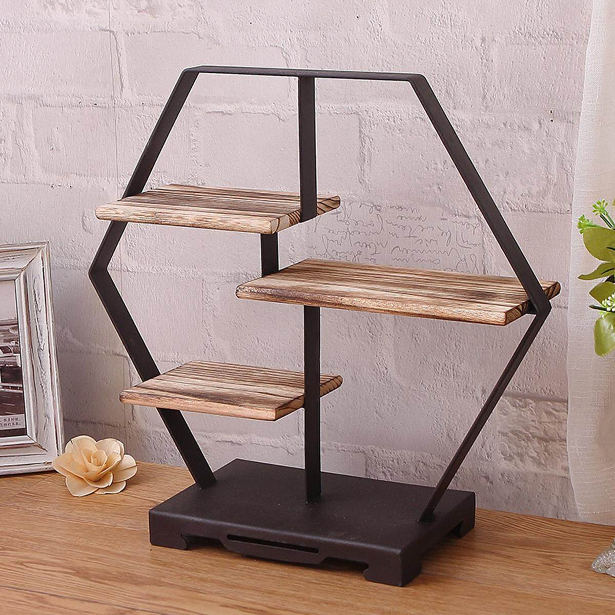 Round Shape Shelf Unit Metal Wire & wood Industrial Style Storage Rack Home New