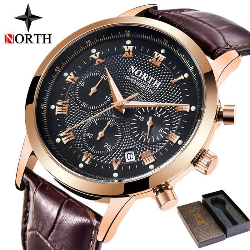 NORTH New Mens Sports Quartz Chronograph Watches Top Brand Luxury Men Leather Business Watch Men Fashion