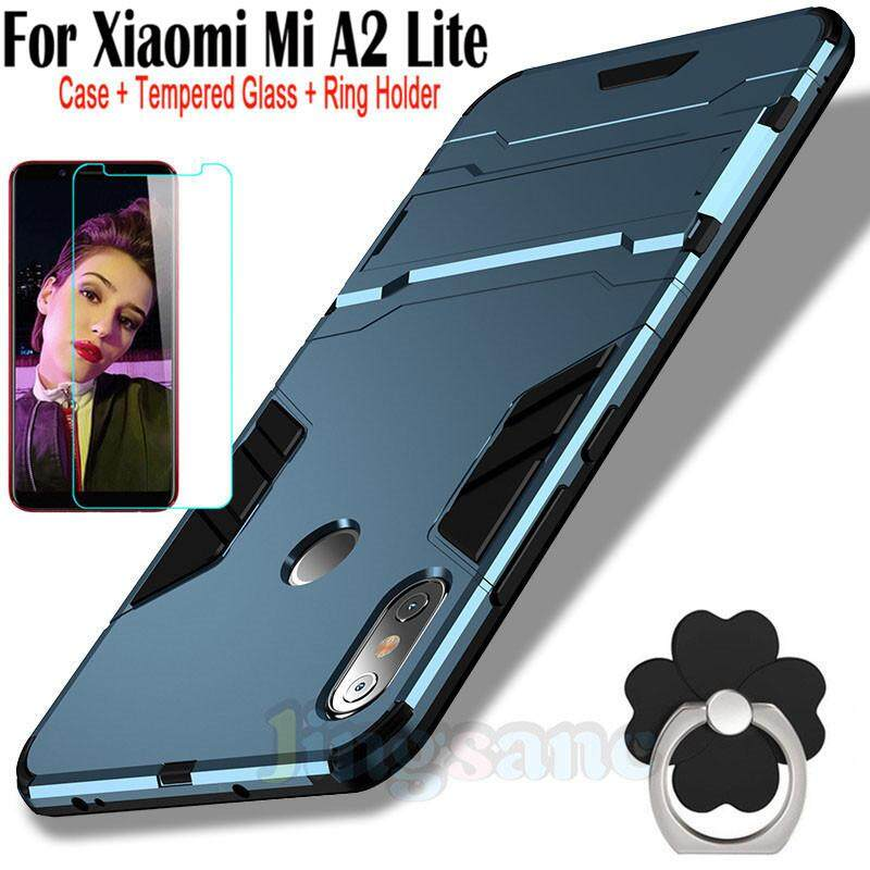 For Xiaomi Mi A2 Lite [Phone Case+Tempered Glass+Ring Holder] Hybrid