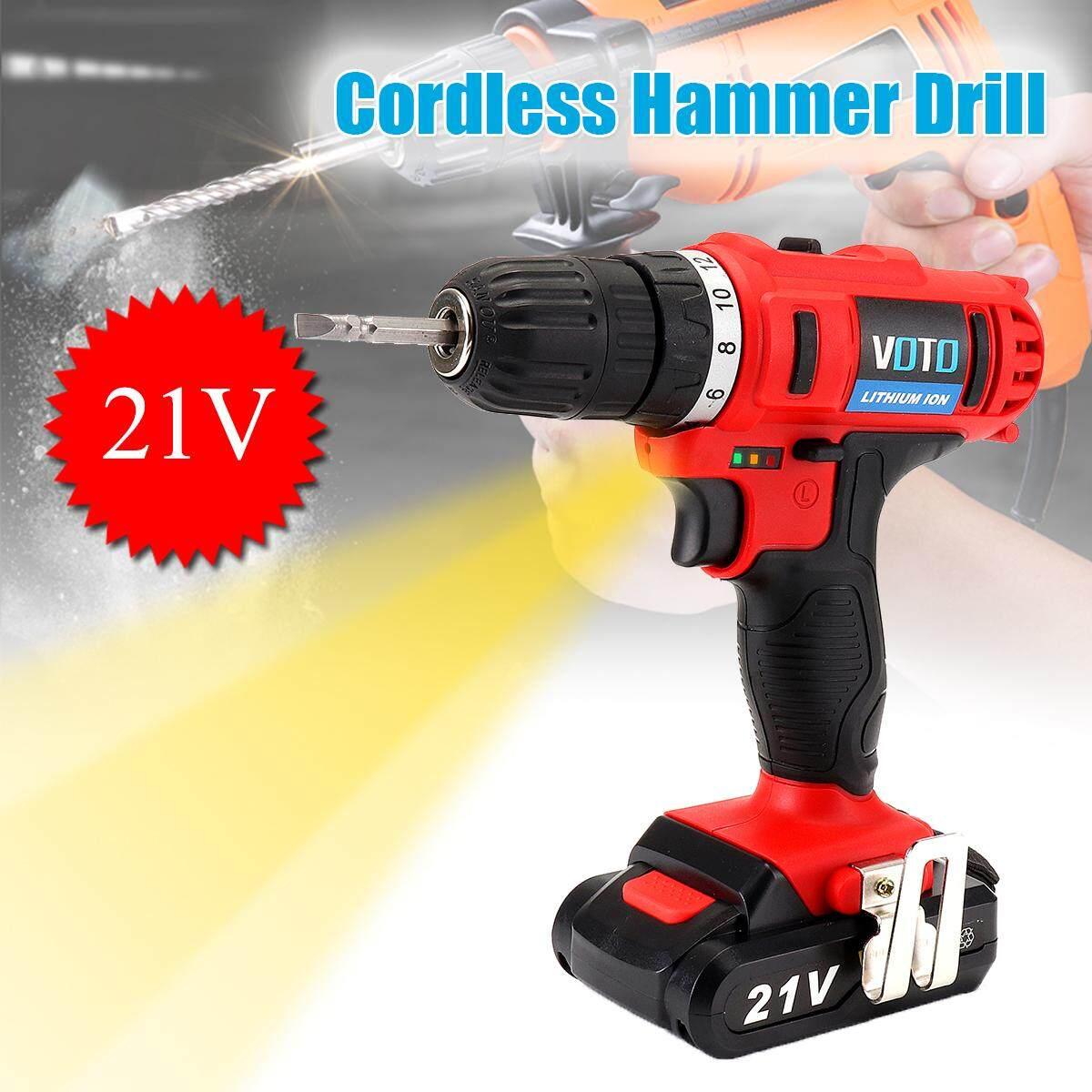 21V 2.0Ah Cordless Hammer Drill Li-ion Battery Two Speed LED Light 36N.