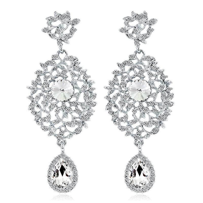 Linfang Indah Mengkilap Penuh Berlian Imitasi Temperamen Mewah Pengantin Anting-Anting