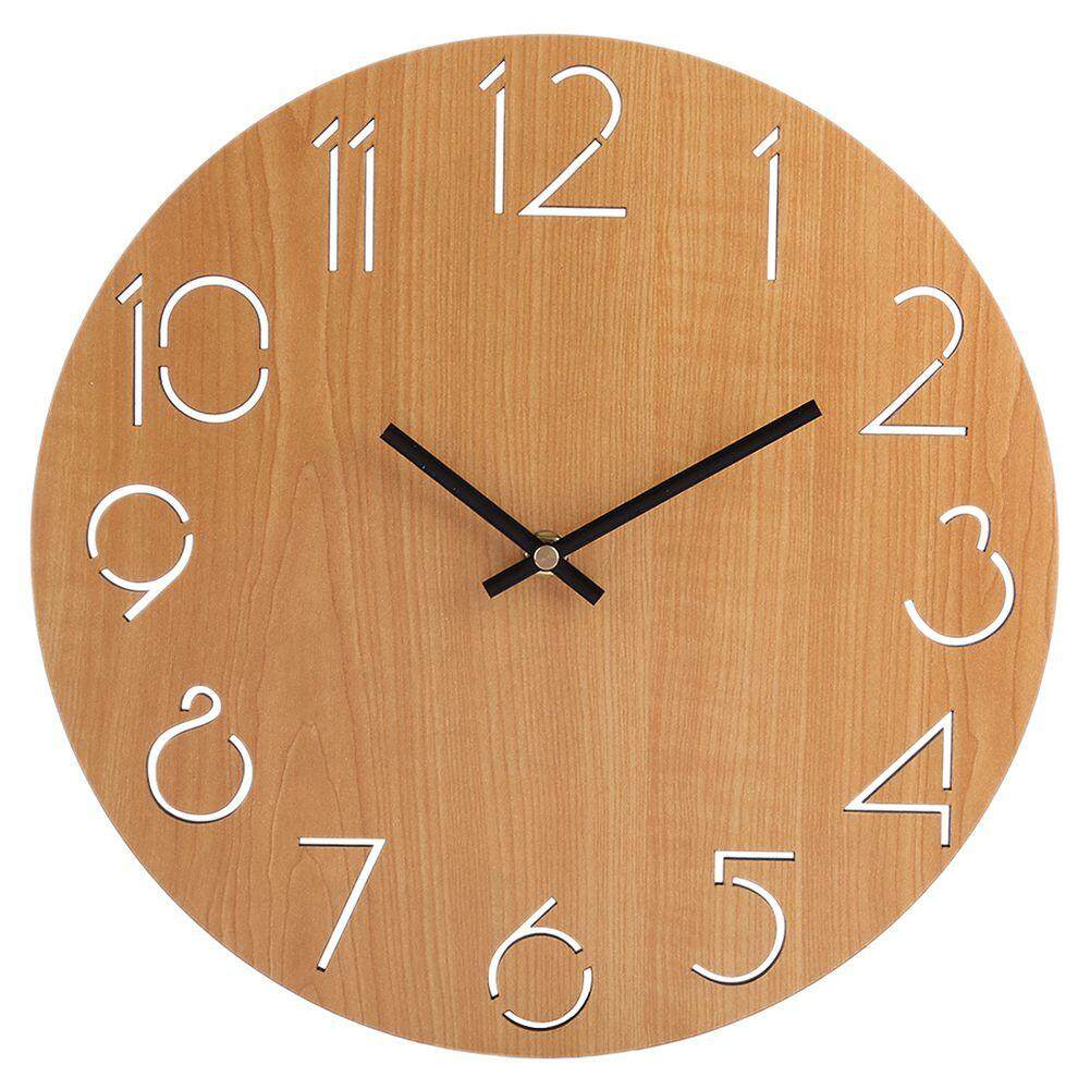 Creative Wall Clock Living Room Minimalist Modern Home Round Personality Silent Solid Wood Fashion(Light Brown) Free Shipping
