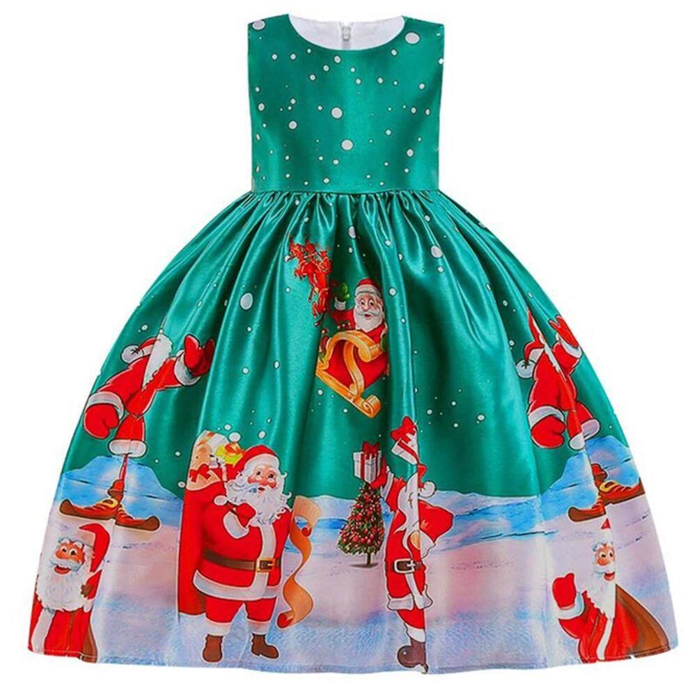O Kadal Gadis Baju Natal Santa Claus Kepingan Salju Renda Gaun Patchwork Kartun Gaun Cetakan