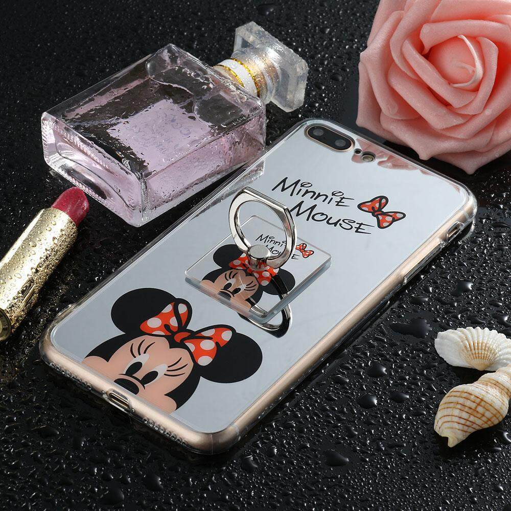 AKABEILA Painted Ring Buckle Mirror Phone Cases For Apple iPhone 7 Plus iPhone7 Plus A1661 A1784 iPhone 7 Pro 5.5 inch Plating TPU Frame+Mirror Cover Protective Mickey Hello kitty Cartoon style Clear Color Mirror Cover Phone Back Plastic Cases