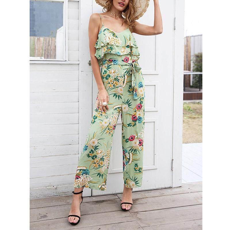De Wanita Musim Panas Bunga Bunga Spaghetti Jumpsuit dengan Strap Panjang Celana Kulot Jumpsuit-Intl