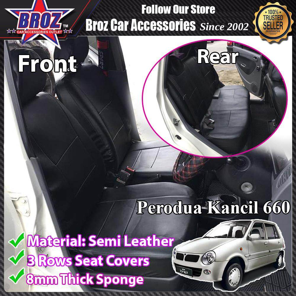 Broz Car Seat Cover Case Semi Leather Perodua Kancil Old New 660 Front and Back - Black (Made in Malaysia)