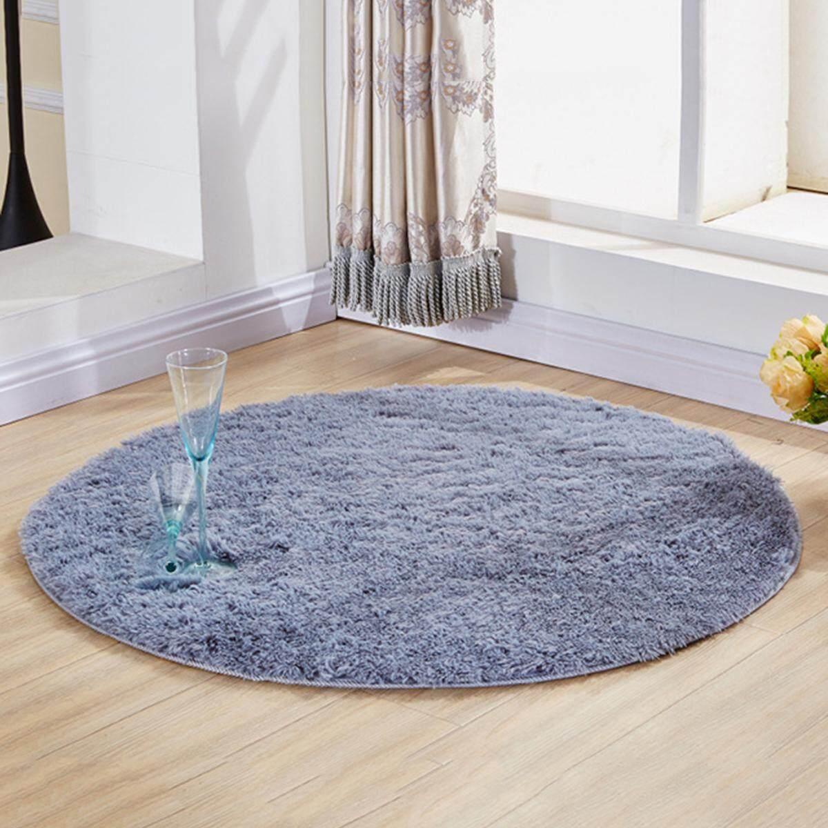 Area Rug Anti Skid Round Shape Fluffy Shag Area Rug Room Carpet for Living Room Bedroom 120cm - intl