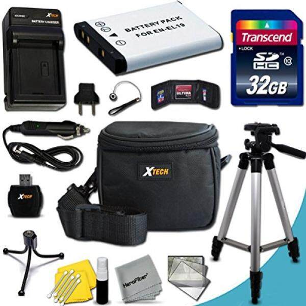 Ultimate 20 Piece Accessory Kit for Nikon Coolpix S3700, S2900, S6800, SS6500, S5300, S3600, 32, S100, S3100, S3200, S3300, S3500, S4100, S4200, S4300, S5200, S6400 Digital Cameras Includes: 32GB High Speed Memory Card + 1 High Capacity EN-EL19 / ENE