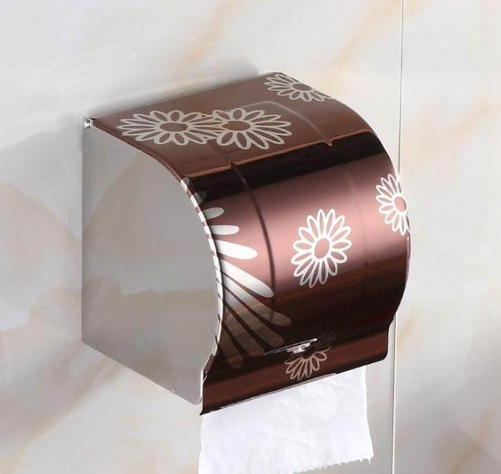 ELEGANT STYLEZ Stainless Steel Wall Mount Toilet Tissue Bathroom Paper Roll Holder Box K102