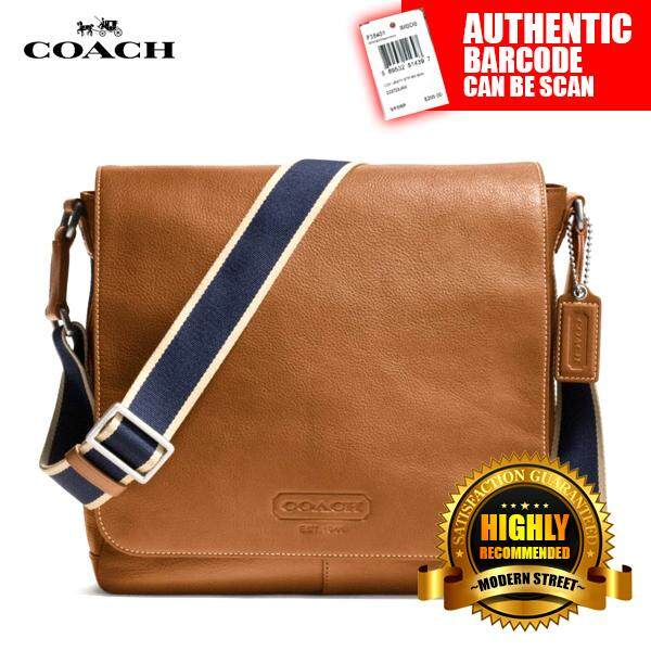 Coach F70555 Nwt Heritage Web Leather Map Bag Sv Sd Saddle