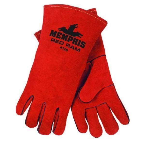MCR Safety 4720 13-Inch Red Ram Split Cowhide Leather Welder Mens Gloves with Wing Thumb, Russet, X-Large - intl