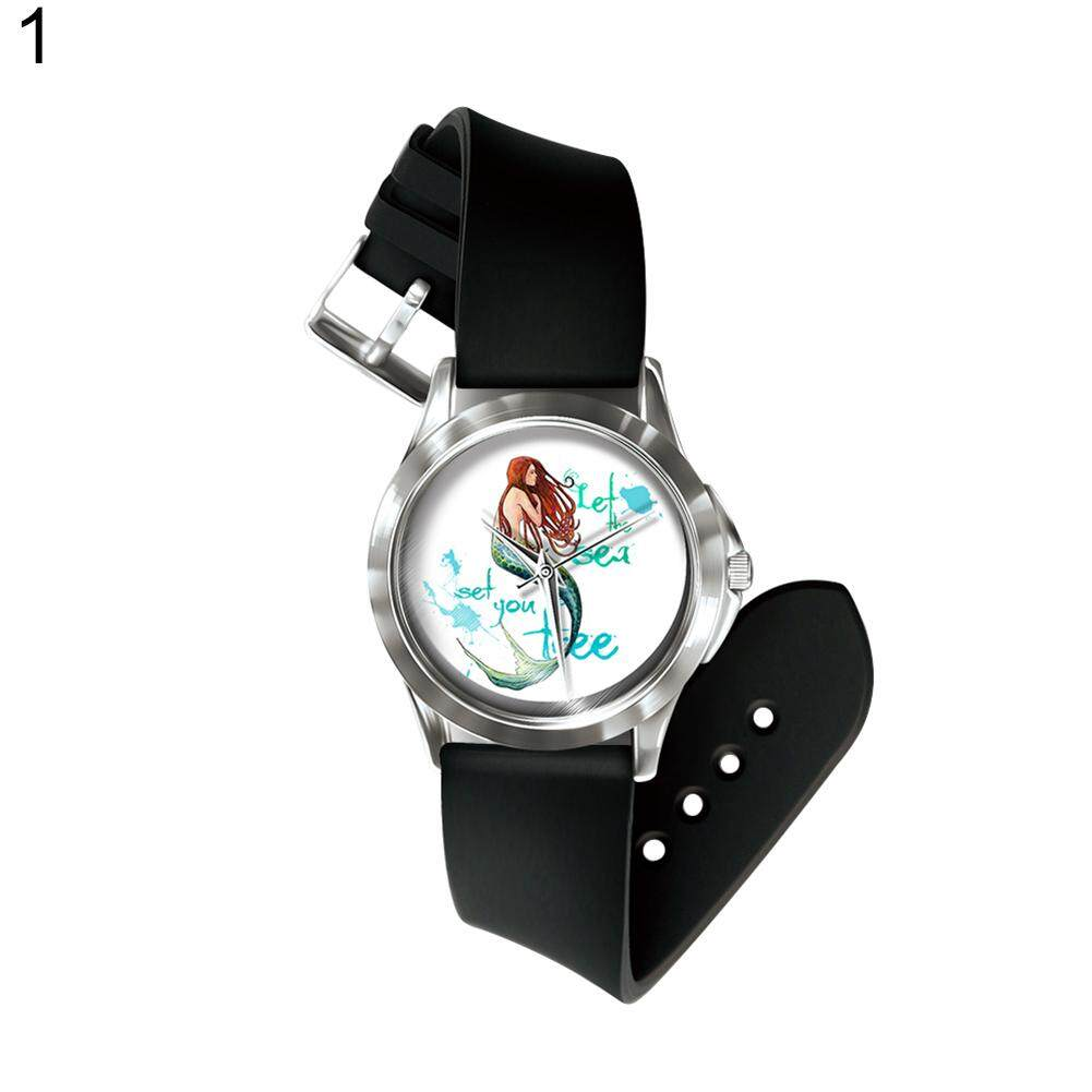 Sanwood® Number Free Quartz Wrist Watch Colorful Cartoon Mermaid  Band Hand Decoration (1#) Malaysia