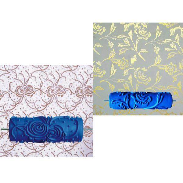 Dolity 2 Pieces Flower Foral Pattern Painting Roller with Handle Wall Decor