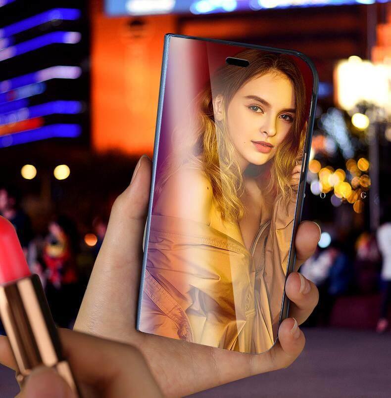 Untuk Galaxy J4 Plus Tutup Terbalik Mewah Plating Smart Case Cermin Pandangan Jelas Transparan Casing untuk Samsung Galaxy J4 Plus Case Perumahan - 4