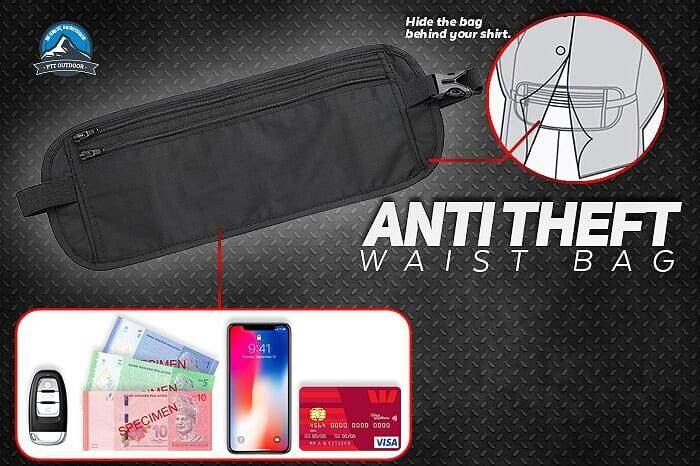 [NEW] Anti Theft Travel Waist Pouch Security Pouch Wallet-Black