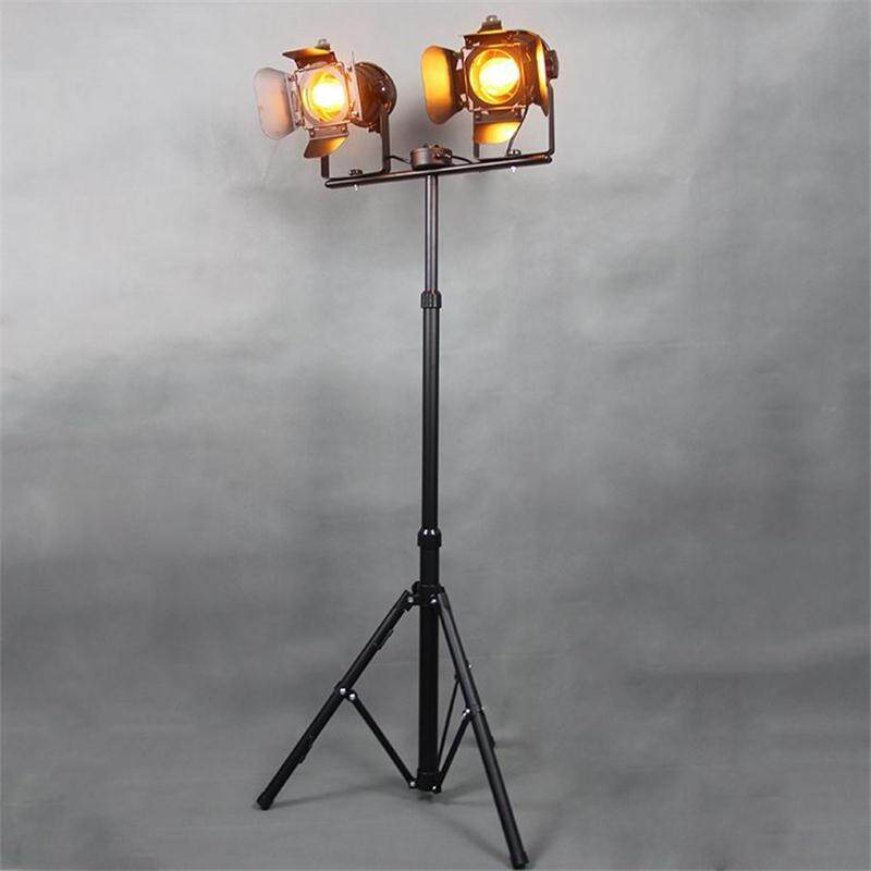Industrial Loft Floor Lamps Bar Creative Studio Retro Tripod Black Spot Floor Lights Vintage Lighting Fixtures(E27*2)