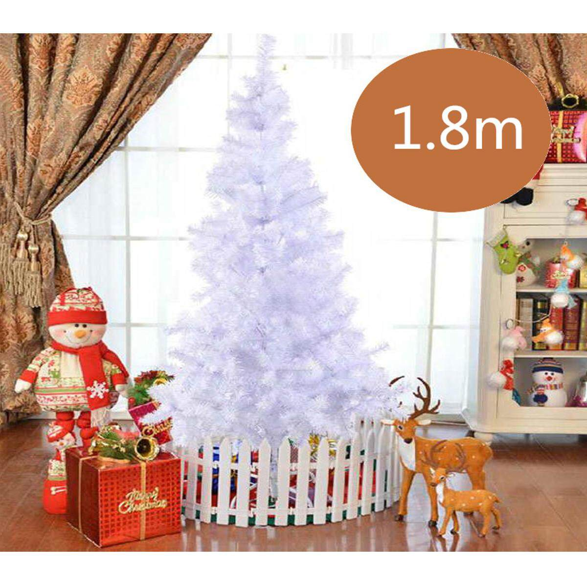 1.8m Pvc Artificial Christmas Tree Indoor Outdoor Xmas Party Decoration White By Glimmer.