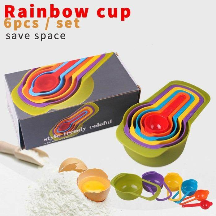 Colourful Rainbow Measuring Cup 6pcs Set