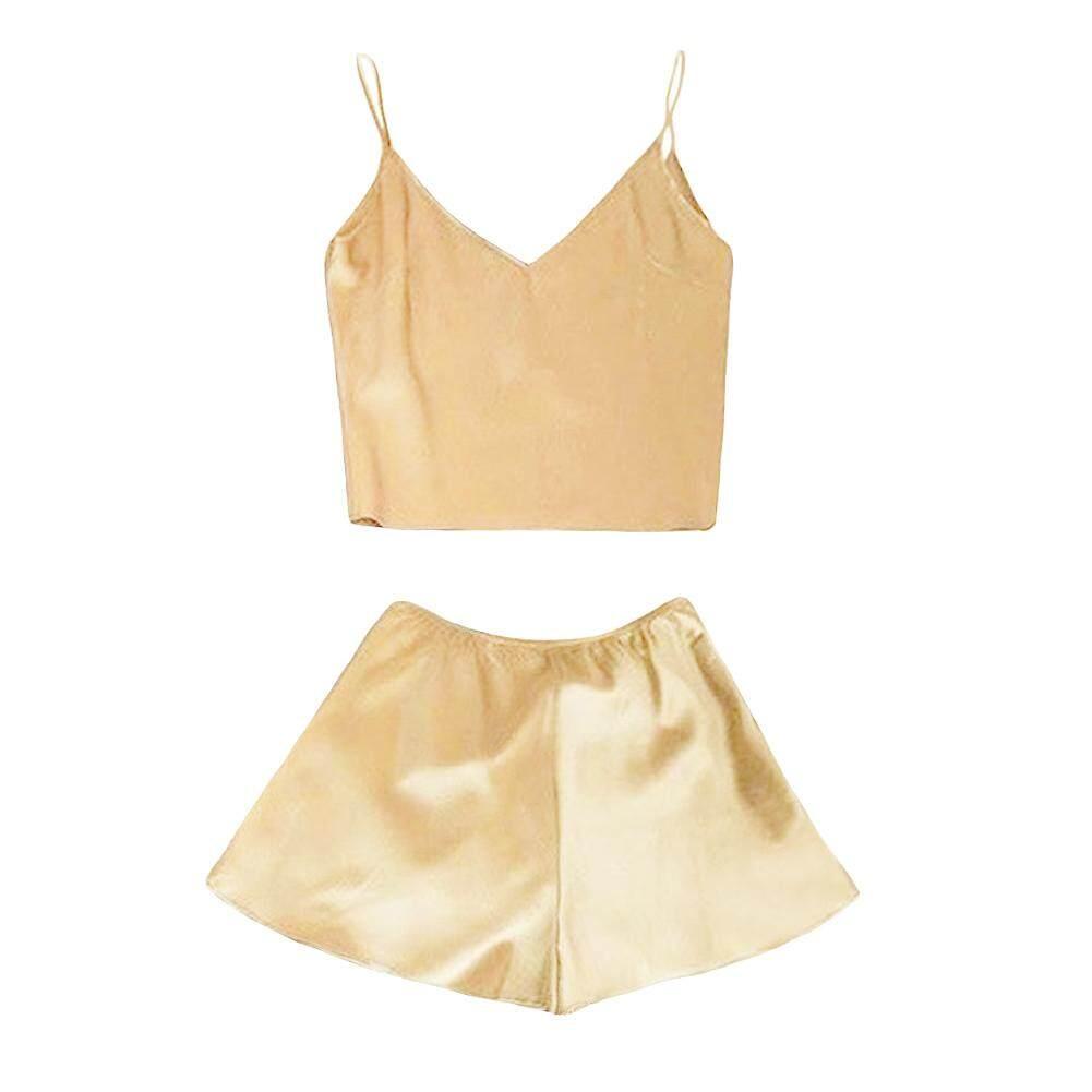 Satin Sutra Wanita Setelan Piyama Deep V Leher Cami Celana Pendek Top PJ Perangkat Pakaian Tidur
