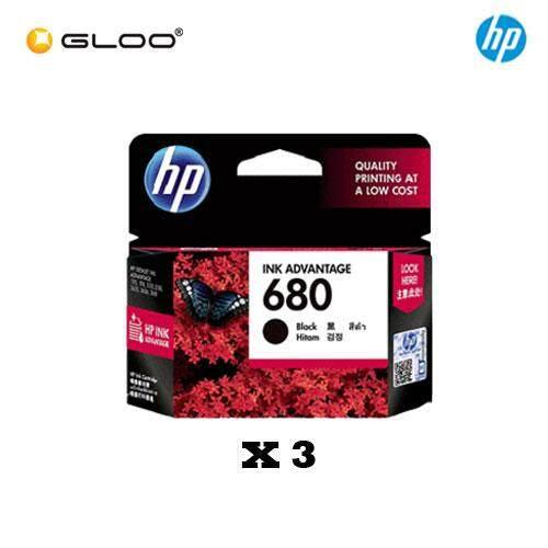 [3 Units] HP 680 Black Original Ink Advantage Cartridge F6V27AA