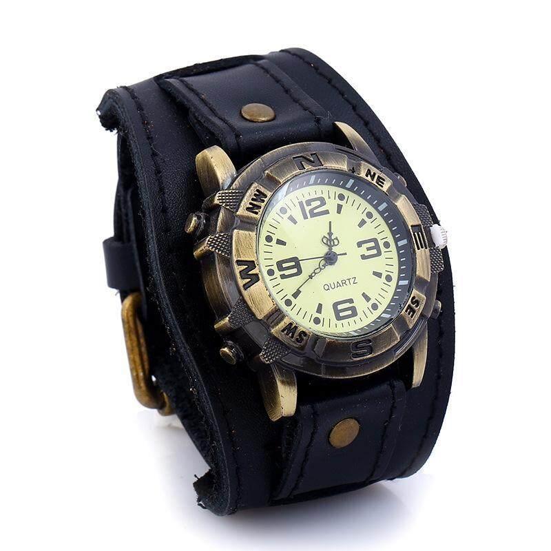 Wide Strap Leather Bracelet Quartz Wristwatch Leather Cuff Bracelet Wristwatch Men Women Punk Quartz Watch(Black) Malaysia