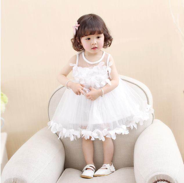Anak Gadis Putri Gaun Bunga Mawar Anak-anak Gaun Bola Merah Muda Putih Pesta Gaun Tak Berlengan Benang Renda Gaun Matahari 2-6 tahun Gadis-Internasional