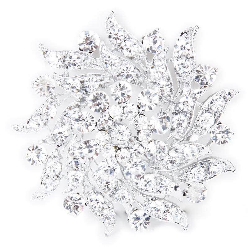 Rhinestone Flower Bridal Wedding Bouquet Brooch Pin Silver - intl
