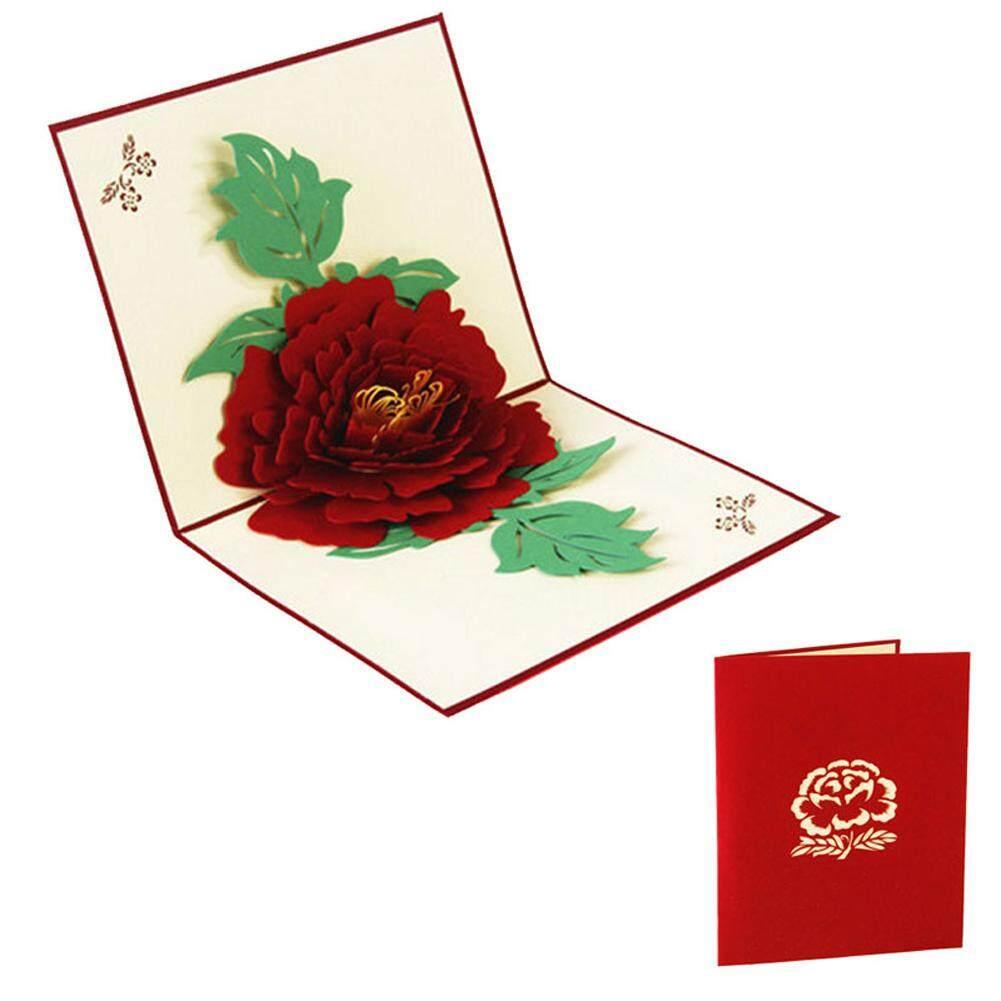 3d Pop Up Kartu Ucapan Peony Ulang Tahun Valentine Hari Ibu Natal-Intl By Royallike.