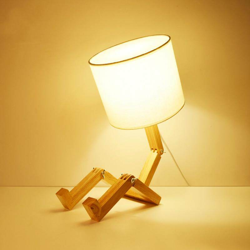 LED European Style Wooden Table Lamp Creative Bedside Fabric Lampshade Desk Light Deco For Living Room 22*45cm - intl