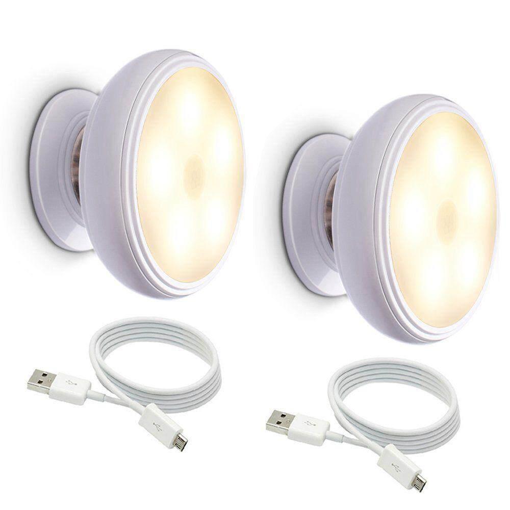 2x Motion Sensor Night Light, Detachable Magnet Base, USB Rechargeable LED, Human Body Induction 360 Degree Rotation Night Light (Warm White) - intl Singapore