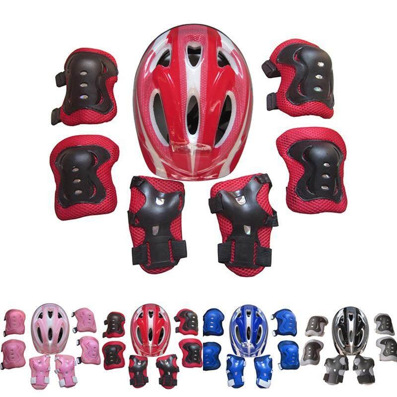 7 Pcs Anak Anak Sepatu Roda Helm Sepeda Lutut Pelindung Pergelangan Tangan  Siku Pad Set . 38c8753b2d
