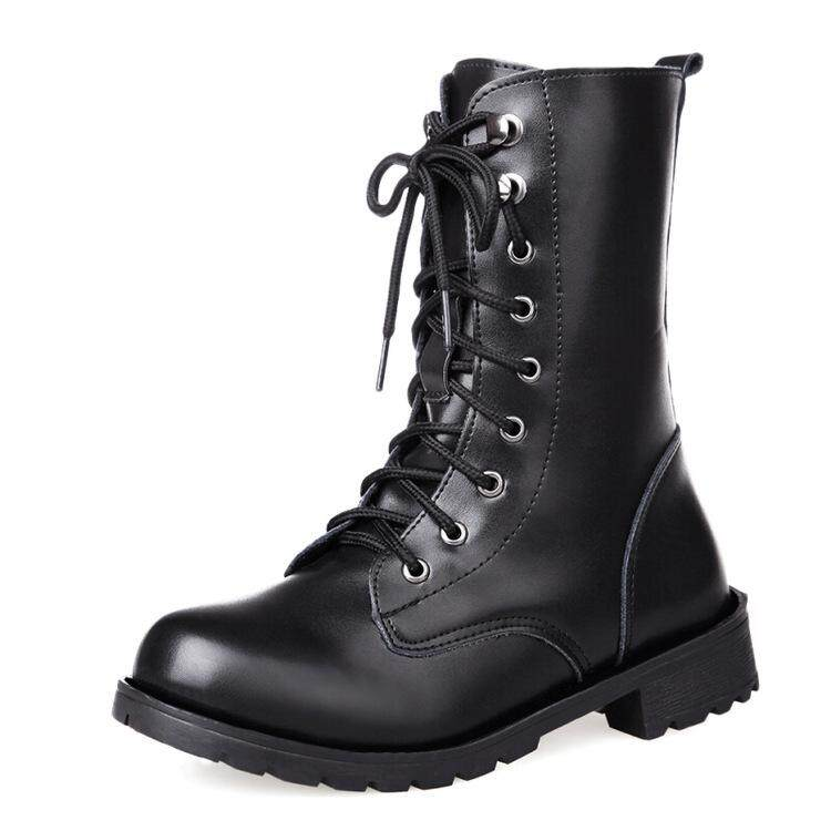 1577b623216 2018 PU Leather Women Boots Winter Warm Shoes Botas Feminina Female Fashion  Motorcycle Ankle Boots