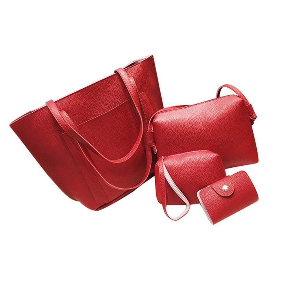 Hình ảnh uiuinon 4pcs/set Women PU Leather Handbags Single Shoulder Bags Card Coin Purse Wallet Small Messager Pure Color Totes Bag - intl