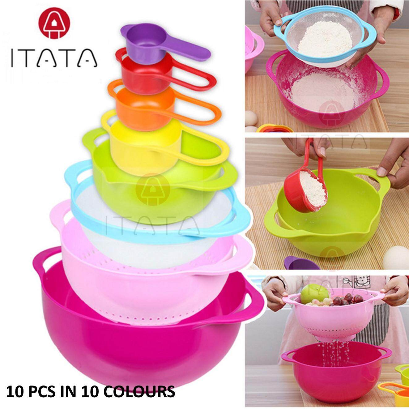 Itata Set Kitchen Multi-Color Mixing Bowls Nesting Plastic Bowl Colorful And Measuring Cups By Freemarket Lifestyle Trading.