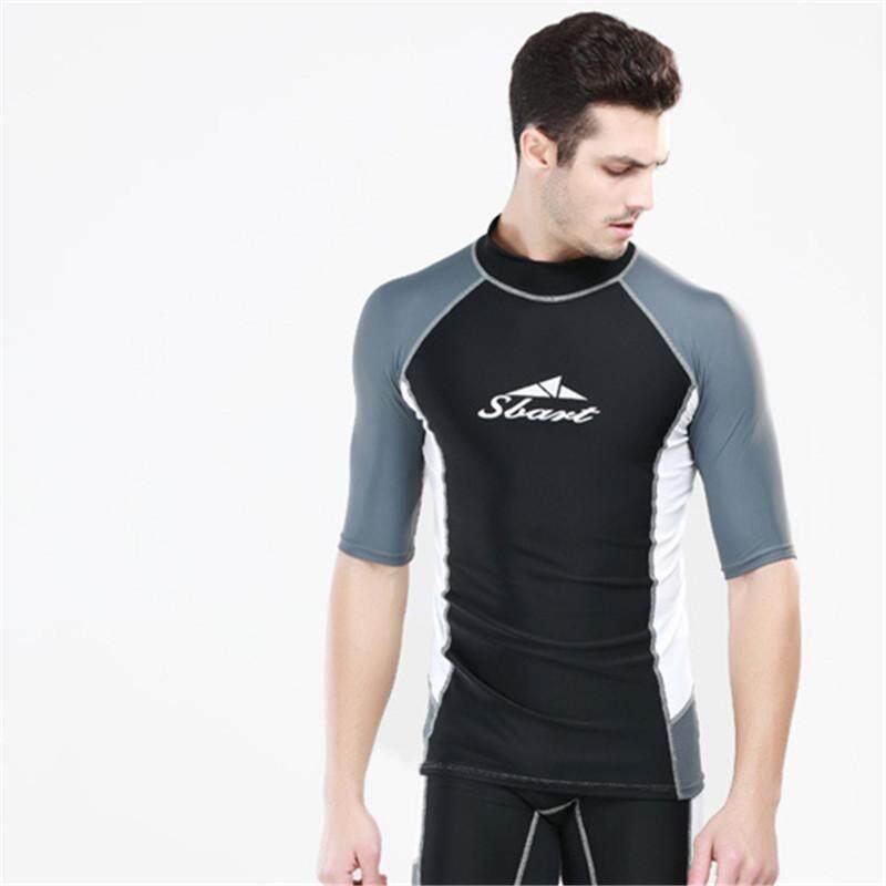 c106af73fb9 Luoke Swim T-Shirts Men Short Sleeve Rash Guard Swimwear Swim Diving Suit  Snorkeling Scuba