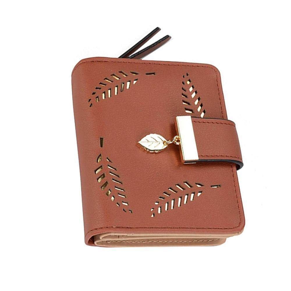 567a2801fb10 GoodGreat Women's Short Leather Wallet Leaf Bifold Card Coin Holder Small  Purses Buckle Zipper Clutch