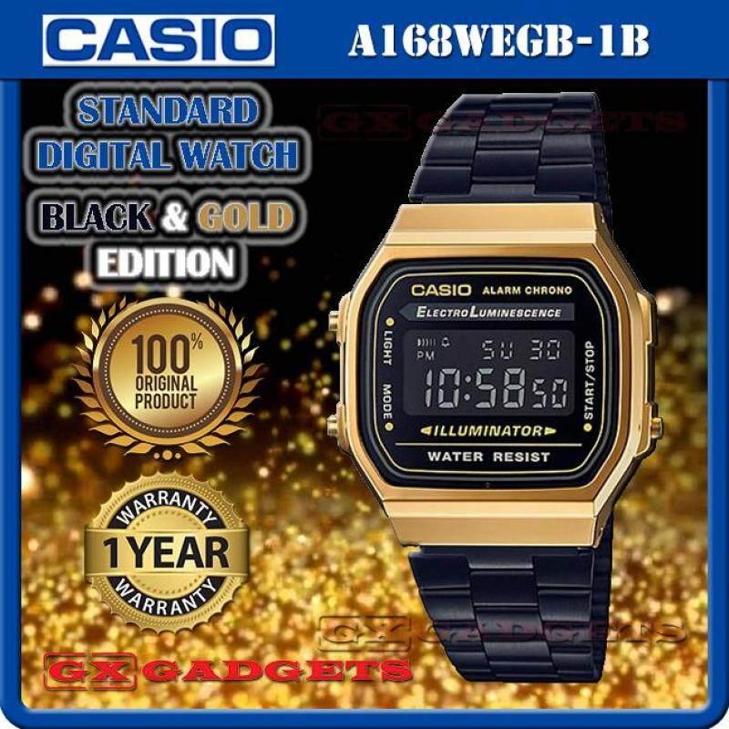 CASIO A168WEGB-1B STANDARD DIGITAL WATCH BLACK GOLD EDITION EL LIGHT ALARM STOPWATCH STAINLESS STEEL BAND WR A168W SERIES Malaysia