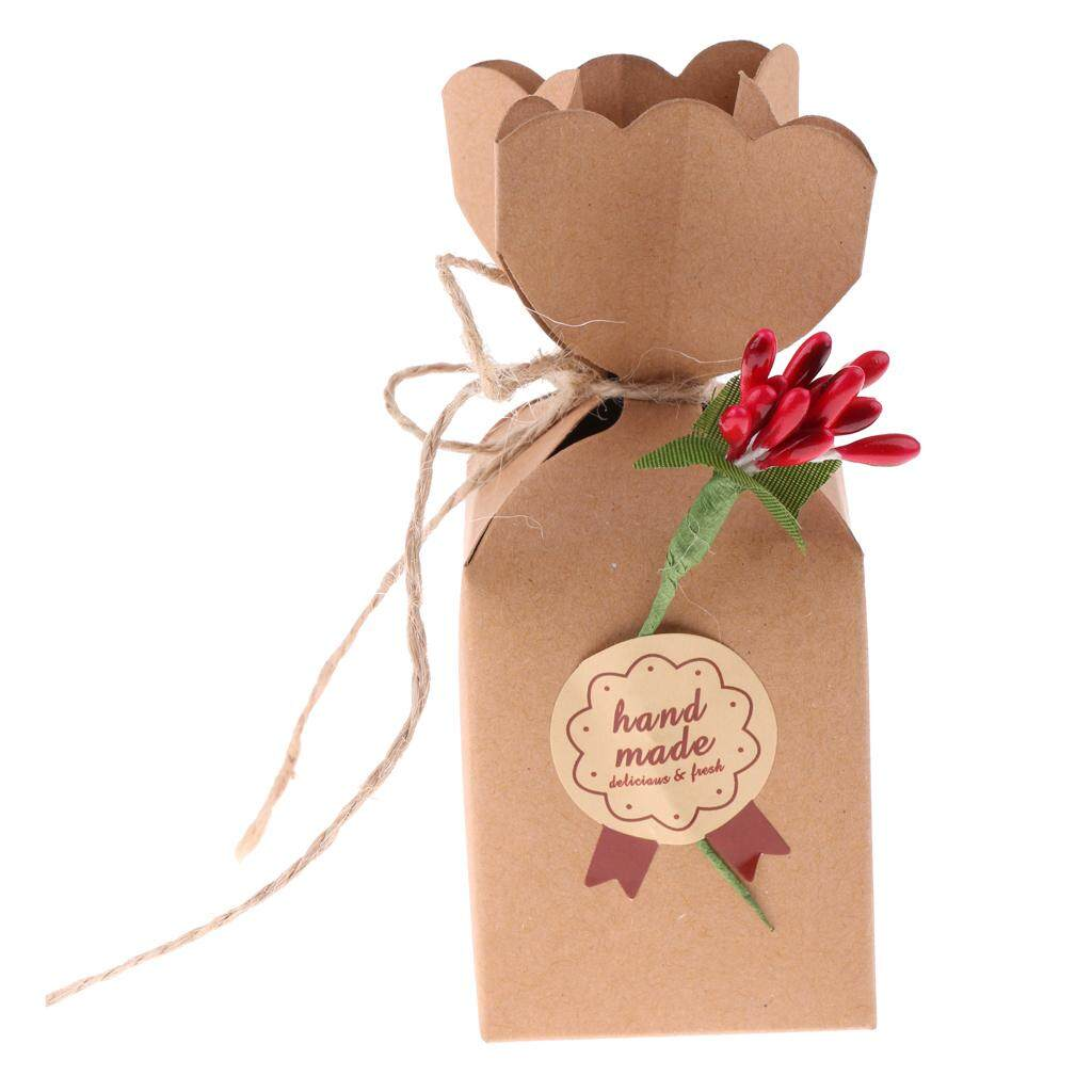 GuangquanStrade 50pcs Vintage Kraft Paper Gift Boxes Wedding Party Favor Crabapple Flowers