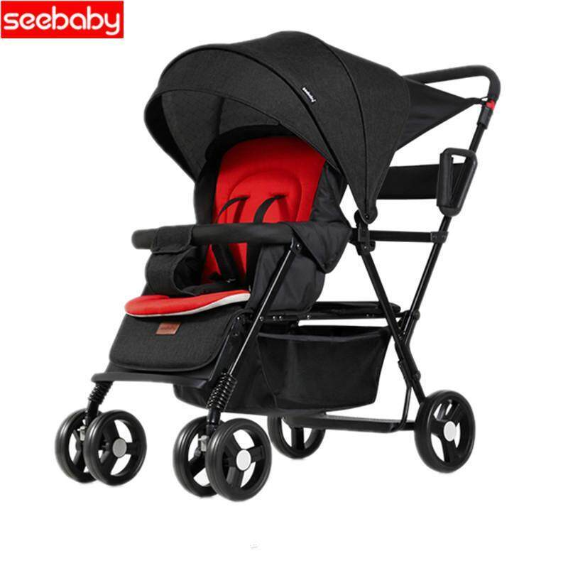 Seebaby Fold Twins Baby Stroller Double Pram Two Seat Can Stand/Sit Fit Newborns Baby and Children Carriage Pushchair Singapore