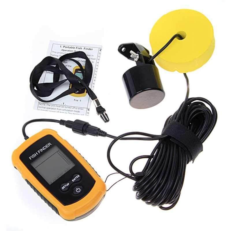 Ytri 100 M Sonar Portabel Sensor Pelacak Ikan Menangkap Transduser Alarm + LCD-Intl