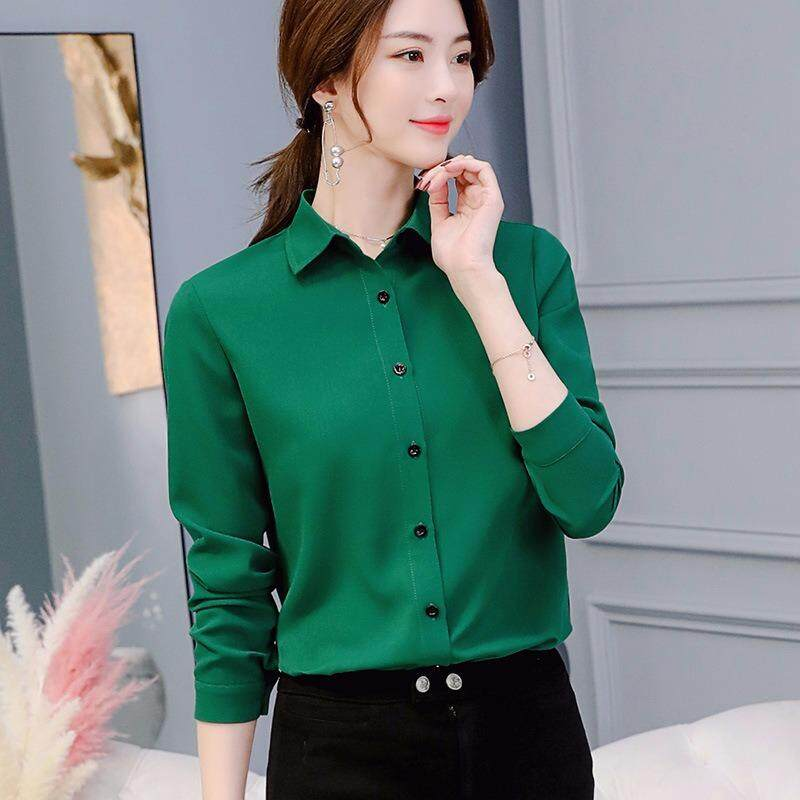 Sale 2018Spring Summer Women Ladies Blouses Shirts Plain Slim Turn Down Collar Long Sleeve Tops Shirt Intl Oem Online