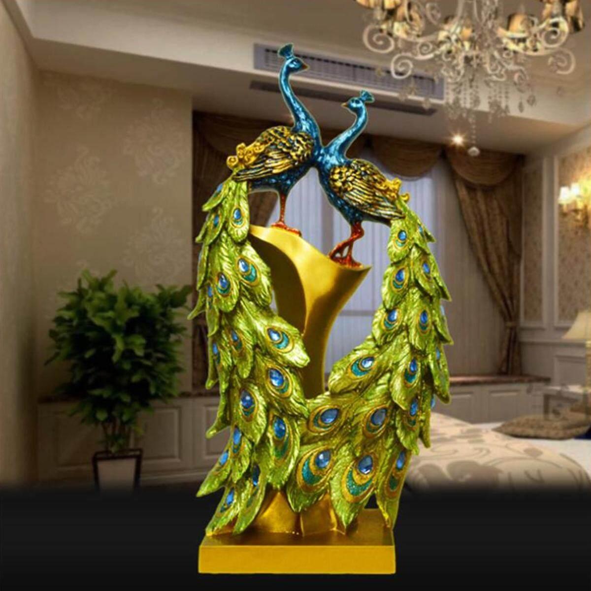 Couple Peacock Resin Decor Home Ornament Decorations Figurine Statue Sculpture