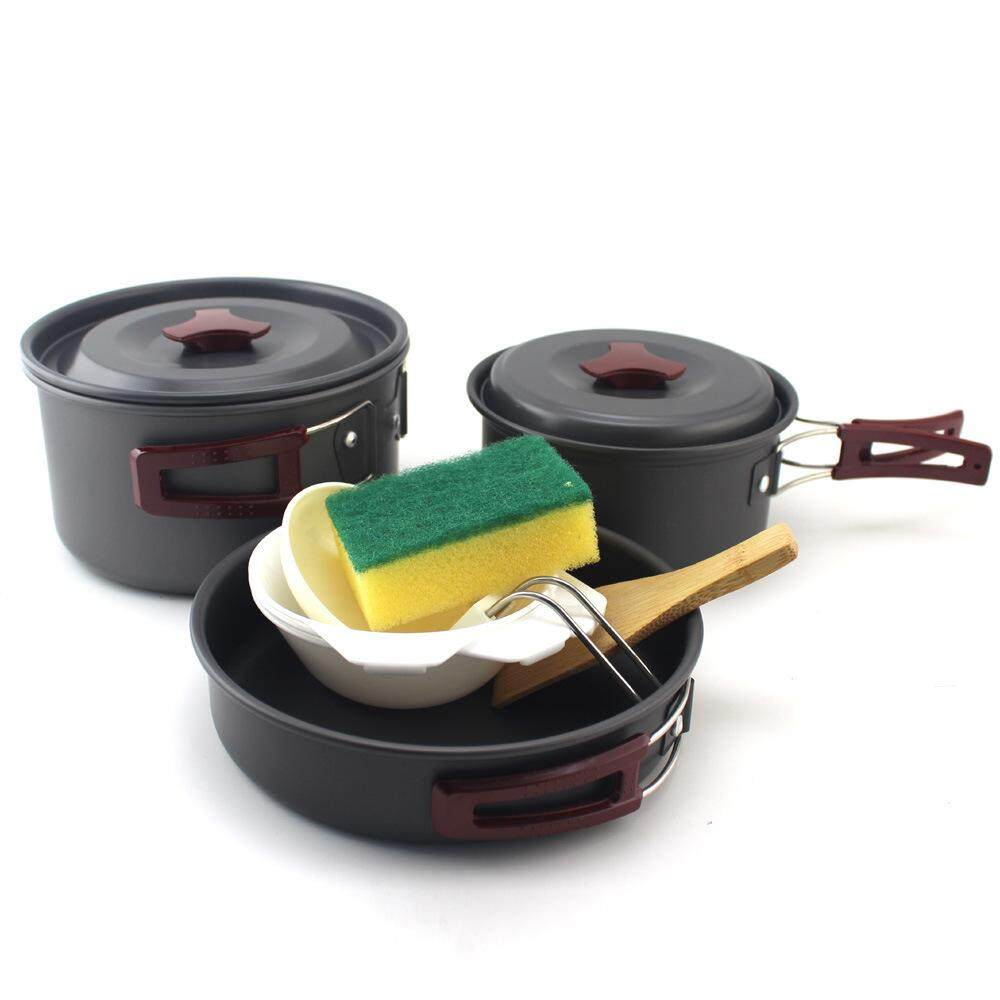 Camping Cookware Set Cooking Pot BBQ Portable Lunch Box Bowl High Temperature Outdoor Tableware Travel Kit