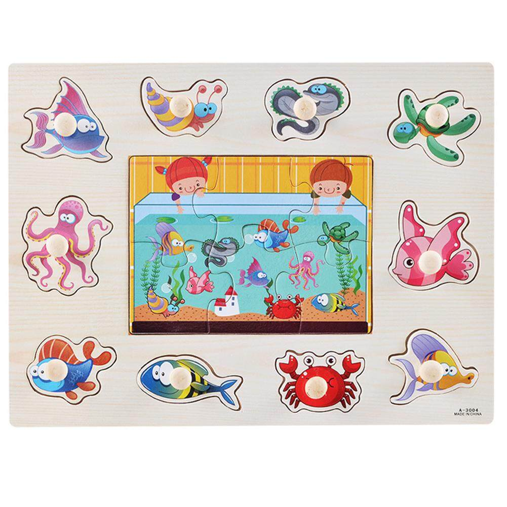 30cm Children Wooden Early Learning Hand Grasp Puzzle Toys Alphabet Cognitive Jigsaw Boards